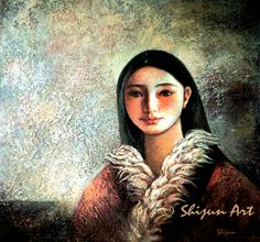 """Tibetan Girl"" oil on linen  by Shijun Munns  oil on linen 24x30"" 1996   www.shijunart.com www.facebook.com/shijunart  #Art  #OilPaintings"
