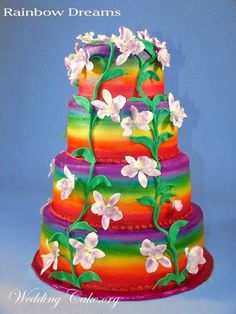 rainbow wedding cake | wedding cakes fondant grooms cakes modern wedding cakes square wedding ...