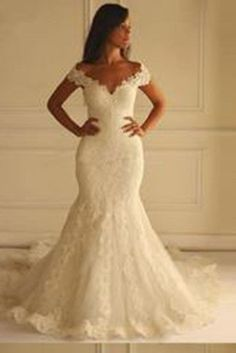 Off Shoulder Short Sleeves Mermaid Lace Wedding Dress with Appliques