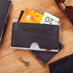 Premium Carbon Leather & Felt Cardholder by  - $60