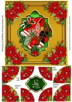 Last Minute Shopping Corner Stacker  on Craftsuprint designed by Maria Christina Vieira  - A vivid wonderful Corner Stacker card front sheet of two layers. Comes with one Christmas greeting label. - Now available for download!