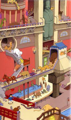 Ilustración de Fabien Laurent para la obra Shen Shan ¡Lichi se ha perdido!, de Didier Lévy.