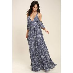 Good-Hearted Denim Blue Floral Print Maxi Dress ($94) ❤ liked on Polyvore featuring dresses, blue, off shoulder maxi dress, floral maxi skirt, floral maxi dress, blue floral dress and long denim skirt