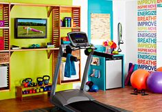 Love the colors!  Minus the treadmill, would exchange that for the pilates reformer | Lowe's outlines how to create a perfect functional home gym from a ...
