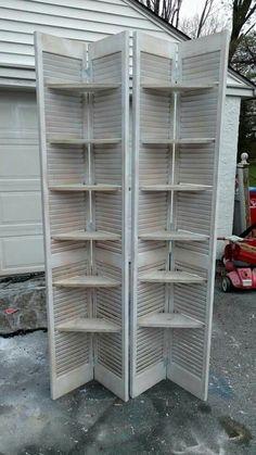 Shutter shelving - Shutter shelving , Best Picture For shutters repurposed sig - Diy Shutters, Farmhouse Shutters, Rustic Shutters, Repurposed Shutters, Bedroom Shutters, Outdoor Shutters, Cedar Shutters, Shutter Shelf, Shutter Doors