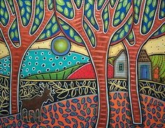 Karla Gerard... don't know if this is painted or quilted but I love the balance of color and pattern.***