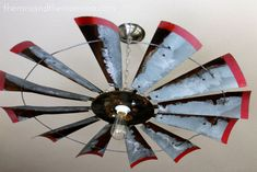 I had my first junkin' experience a couple of weekends ago. Some call it antiquing. Some call it junkin'. Some call it Roun. Farmhouse Chandelier, Diy Chandelier, Farmhouse Lighting, Chandeliers, Windmill Ceiling Fan, Windmill Wall Decor, Belt Driven Ceiling Fans, Ceiling Fan With Remote, Front Room Decor