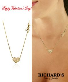 """Heart and """"Love"""" Diamond Necklace in 14k yellow gold."""