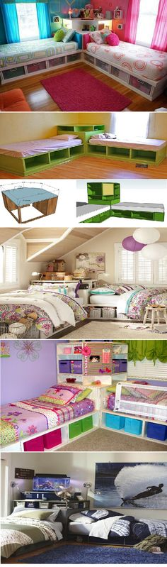 Best Shared Bedroom Ideas For Boys And Girls home kids children interior design home decor home ideas homes bedrooms children's rooms childrens rooms shared rooms kids room Corner Twin Beds, Bed In Corner, Girl House, Bed Storage, Storage Ideas, Organization Ideas, Storage Solutions, Girls Room Organization, Budget Storage