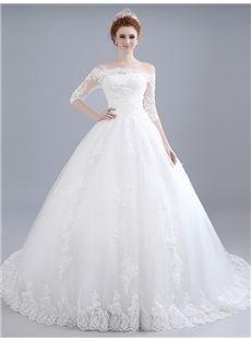 2016新品 レース オフショルダー 袖付き 編み上げタイプ の綺麗目 花嫁ドレス ロングドレス ウェディングドレス 結婚式ドレス