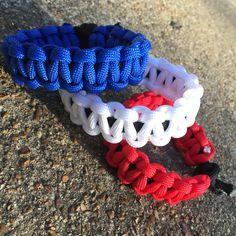 Red, White and Blue Solid Paracord - cobra stitch no clip #TritonParacord #ParacordBracelet