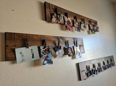 Wood Board for Photo Picture Display Clothespin Hanging for Photo On Wood, Picture On Wood, Picture Ledge, Diy Wood Projects, Wood Crafts, Wood Board Crafts, Pallet Picture Display, Pallet Pictures, Displaying Kids Artwork