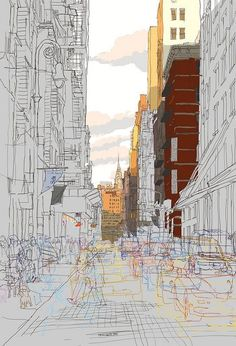Rupert Van Wyk - Busy brick street, late evening, looking towards the Chrysler building, NYC Photography Sketchbook, Iphone Photography, Photography Poses, Street Photography, Perspective Sketch, Sketchbook Cover, A Level Art, Architecture Drawings, Urban Sketching