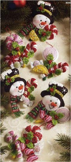 Candy Snowman Felt Ornaments