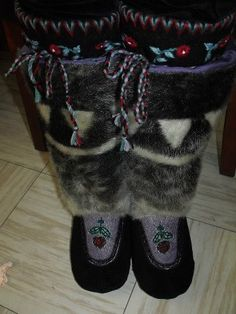Inuit made women's sealskin boots by Angelina St-Cyr