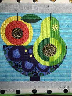 mid-century modern fruit needlepoint, designer unknown