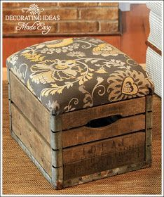 Decorating Ideas Made Easy Blog: Milk Crate Ottoman and Galvanized Bucket Fan