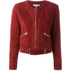 Iro Suede Jacket (14 320 ZAR) ❤ liked on Polyvore featuring outerwear, jackets, red, suede jacket, iro jacket, suede leather jacket, red jacket and red suede jacket
