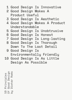 """10 Principles of Good Design"" letterpress print, available as a 5"" x 7"" card and NEW larger 16.5"" x 23"" print."