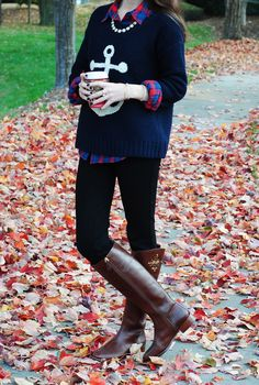 anchor sweater + plaid