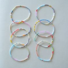 Single Strand Pastel Pattern Stretch Bracelets Sold in sets of 8 Two Sizes Matte Opaque Toho Glass Seed Beads 6 or 7 This is a simple but beautiful bracelet that comes in two sizes. It can be stacked, worn individually, and has the vers Dainty Diamond Necklace, Crystal Necklace, Diy Necklace, Necklace Tutorial, Necklace Holder, Seed Bead Necklace, Seed Bead Jewelry, Custom Jewelry, Handmade Jewelry