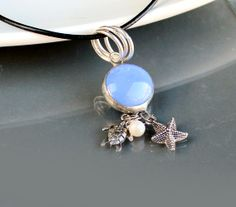 Sea Charms Necklace - OOAK - Stained Glass . Starting at $5 on Tophatter.com!