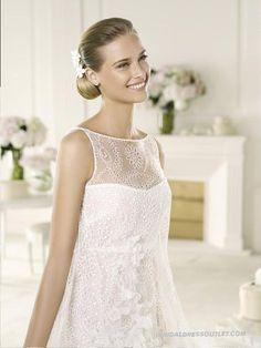 Sweet And Unique Short-length Bateau Sleeveless Hollow-out Lace-up Pick-up Skirt Wedding Dress WPD1260 Is Much Cheaper Online | Welcome To Order A Line Lace Wedding Dress Guest With High-grade Fabric