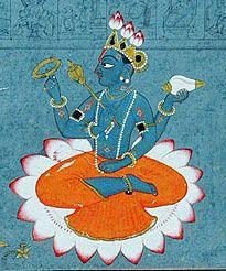 Closeup of Lord Vishnu, seated in the lotus position on a lotus. From depiction of the poet Jayadeva bowing to Vishnu, Jnana Yoga, Sanskrit, Shiva, Karma Yoga, Hare Krishna Mantra, Lord Vishnu, Hindu Art, Indian Paintings, Gods And Goddesses
