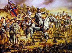 El general Lee en la batalla de Wilderness. Artista Rick Reeves.