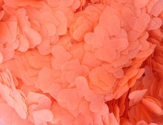 New bright coral tissue confetti for 2017. Biodegradable, compostable, bleed resistant and acid-free.