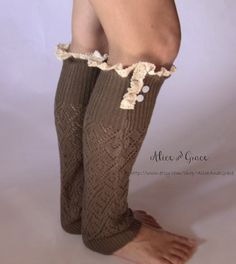 Chocolate Brown Leg Warmer Boot Sock by AliceAndGrace on Etsy, $22.00 Boot Socks, Chocolate Brown, Leg Warmers, Off White, Legs, Trending Outfits, My Style, Crochet, Boots