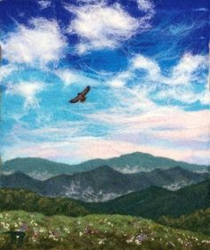 """""""The Wild Blue Yonder"""" - SOLD in the silent auction held at WNC Quick Draw - May, 2014 Felted landscape by Tracey McCracken Palmer [Bonnieblink Studio]"""