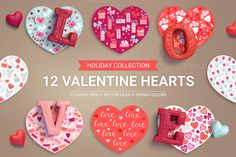 12 Valentine Hearts by miumiu on @creativework247