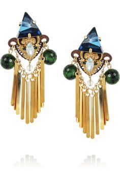 Erickson Beamon|Alchemy gold-plated Swarovski crystal and ruby zoite clip earrings|NET-A-PORTER.COM