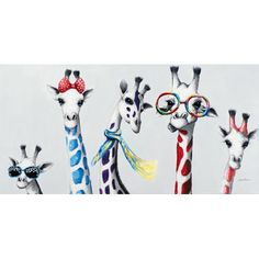Funny Giraffes with Accessories Painting on Canvas East Urban Home Giraffe Painting, Giraffe Art, Painting Prints, Animal Paintings, Animal Drawings, Art Drawings, Funny Paintings, Bus Art, Canvas Artwork