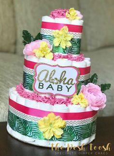 Aloha Baby Hawaiian Diaper Cake Centerpiece, Tropical Floral Palm Baby Shower Diaper Cake, Luau Pineapple Flamingo Pink Green Girl, 3 Tier