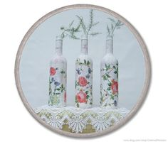 Set of 3 vases SHABBY CHIC roses Recycled wine by CharmeParisien