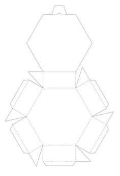 "Blank six-sided printable box template (aka hexagon, hexagonal). I would add sides to the lid for more stability. Found by clicking on the words ""Hexagon Box"" below the pictures on the webpage. A very handy site."