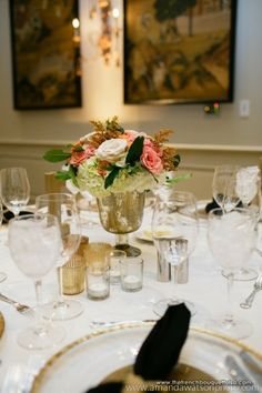 Roses and Hydrangea in Low Mercury Glass Centerpiece