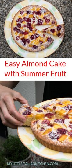 Easy almond cake with summer fruit - Desserts - Easy Cake Recipes, Dessert Recipes, Fruit Recipes, Recipies, Delicious Desserts, Yummy Food, Yummy Yummy, Biscuits, Summer Cakes