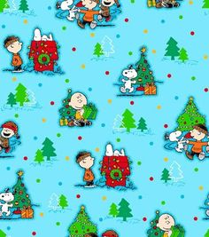 Holiday Inspirations Fabric-Peanuts Christmas Scenic