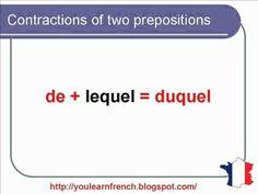 French Lesson 140 - Contraction of prepositions A and DE - definite articles - AU DU AUQUEL DUQUEL