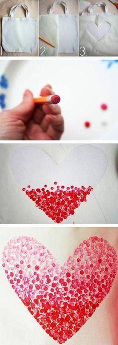 nákupní taška, tisk na textil, textilní taška, plátěná taška, dárek k valentýnu, valentýnské dárky, z lásky, razítko srdce, diy