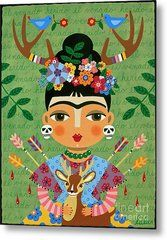 Frida Kahlo With Antlers And Deer Metal Print by LuLu Mypinkturtle