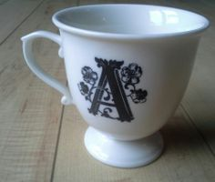 """Monogram Initial """"A"""" Coffee Tea Cup from Anthropologie White with Black Letter 