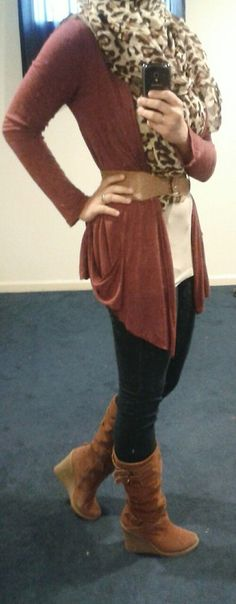 Fashion & Style Fusion blog, #ootd #hootd #modest #outfit #fashion #style #brown #taupe #tan #offwhite #leopard #scarf #boots #maroon #burgundy #belt #cardigan #leopardprint #wedges