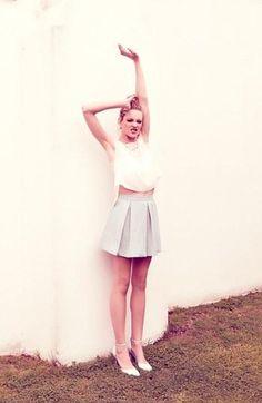 Savvy! Tildon Origami Shell, Lace Bralette & Box Pleat Skirt