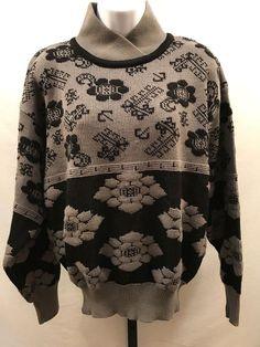 45787b6aa766aa Wool Ski Sweater Nils Retro Vintage Women's Medium Gray Black Layered Collar
