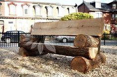 Oak Log Bench