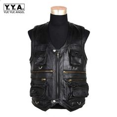 8f16c64e85382 New Men s Waistcoat Genuine Leather Fishing Outdoor Reporters Suit More  Than Pocket Quinquagenarian Men Cow Leather Vest Tops